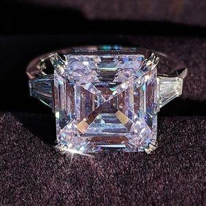 NEW Huge 9.5 Carat Asscher Diamond Wedding Ring